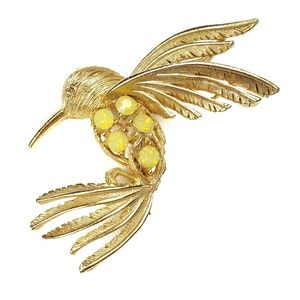 Vintage Gold and Yellow Hummingbird Brooch